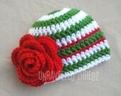 Christmas Baby Hat, Christmas Newborn Hat, Crochet Flower Hat Baby Girl