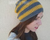Womens Slouchy Beanie Crochet Hat Mustard Yellow Gray Beanie Adult Teen