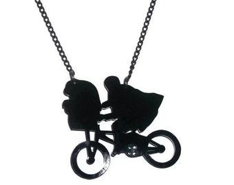 E.T Necklace, Black Bike Laser Cut Pendant, Alien,  Retro, Kitsch Necklace
