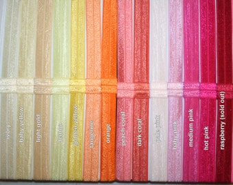Choose 11 - Fold Over Elastic (FOE) 5/8 Inch Headbands Set - LOTS of Colors - Super Speedy Shipping
