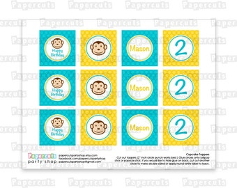 Printable DIY Yellow and Teal Monkey Boy Theme Personalized Happy Birthday Cupcake Toppers