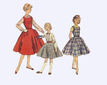 Simplicity 1330 Sewing Pattern 50s Swing Dress Rockabilly Style Circle Skirt Girls Jumper Long Sleeve Blouse Size 8