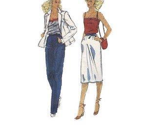 Vogue American Designer 80s Sewing Pattern Bill Haire for Friedricks Sport Jacket Camisole Slim Skirt Tapered Leg Pants Uncut FF Bust 32
