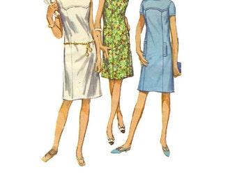 Simplicity 6487 Sewing Pattern 60s Retro Mod Mini Dress Sleeveless Sheath Back Zipper Mad Men Style Bust 32