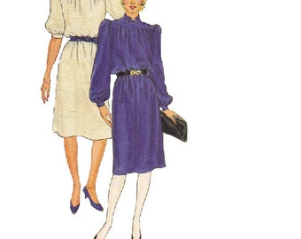 Butterick Sewing Pattern 80s Disco Dress Long Short Sleeves Puff Shoulders Knee Length Casual Loose Fit High Neck Bust 32