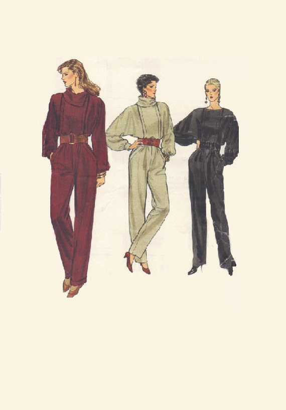 80s new wave fashion jump suit vogue sewing pattern one piece. Black Bedroom Furniture Sets. Home Design Ideas