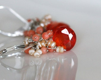Orange zircon dangle earrings   Pearl coral cluster gemstone earrings   Fall Fashion   Sterling silver gemstone   girlthree handmade jewelry