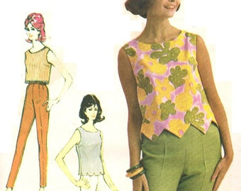 Advance 3162 Vintage 60s Crop Midriff Top with Shaped Hemline Variations and Tapered Pants Sewing Pattern Size 14 Bust 34