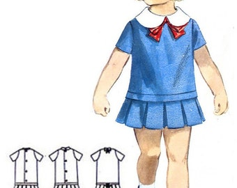 Butterick 3452 Photocopy of Vintage 60s Incredibly Cute Toddler Girl's Dress Box Pleats Flounce, Bow, Contrast Collar Sewing Pattern Size 2