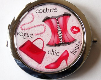 Pink compact mirror, compact mirror, Girls Night, Gift for her, womens accessories, pink mirror, pink compact mirror (2058)