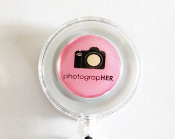 ID Badge Holder, Photographer, Retractable id, Badge clip, photography, pink, photographer gift (1831)