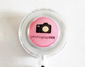 ID Badge Holder, Photographer, Retractable id, Badge clip, photography, pink, photographer gift (1831)