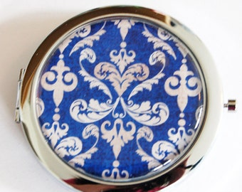 Compact mirror, mirror, purse mirror, Blue Damask pattern, double sided mirror, gift for her, blue, tan, navy (2211)
