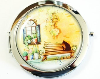 Compact mirror, Provence, gift for her, Pocket mirror, mirror for purse, mirror, Landscape, Europe (2530)