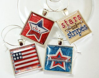 4th of July, Wine Charm, Wine Glass Charms, Stars and Stripes, Wine Charms, barware, entertaining, Independence Day, red white blue (2625)