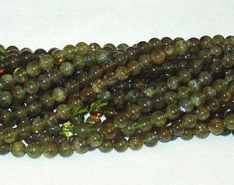 """Green Garnet 6mm Round Gemstone Beads - 15.75"""" Strand"""