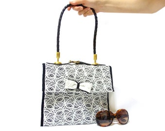 Lace Purse, Handmade Lace bag, Free Shipping, White, Lace Shoulder, Lace purse, Black and white, Unique handbag, Genuine leather handle
