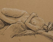 "Life Drawing Figure Study Reclining Female Nude 6X12""  No.118"