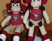 """NFL, Nba, Mlb, Nhl  Single Sock Monkey made from various materials 16"""" Ready to Send in 14 Days"""