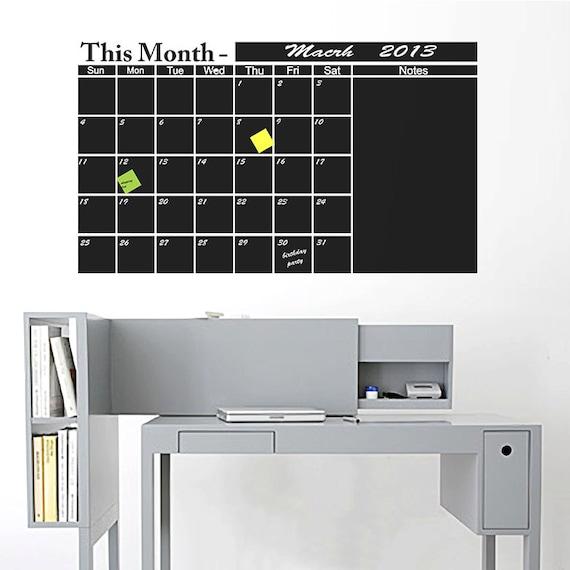 Chalkboard Calendar Decal : Chalkboard wall calendar vinyl decal organize your monthly