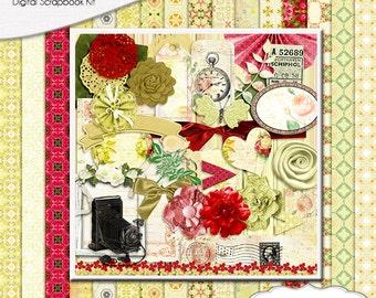 Heriloom Vintage Digital Scrapbook Kit w Yellow & Red Instant Download. Limited CU
