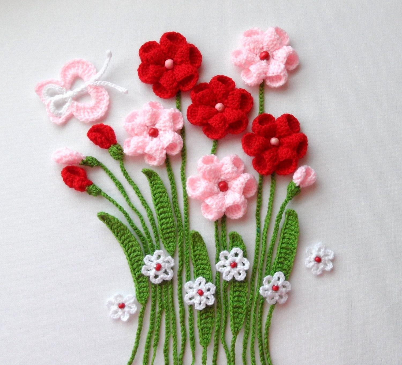 Вязание картины из цветов
