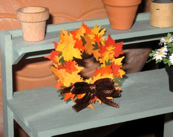 Dollhouse Miniature Autumn Wreath Fall Leaves Accessories Decoration 1/12th Scale
