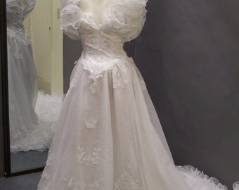 1980s Vintage Dramatic wedding gown.