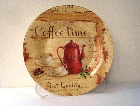 Decorative Glass Plate Rustic Kitchen Decor Coffee