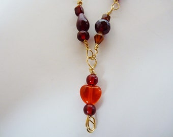 nice long glass bead hand made necklace, interlocking links, no jump rings, no closures, will not fall apart, soho, boho, gypsy, red