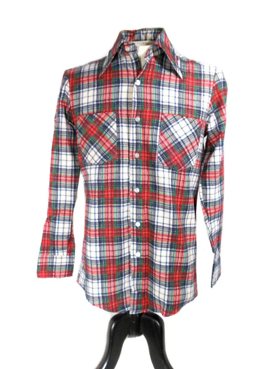 RESERVED (dcarlton) S A L E 1960s Bud Berma Plaid Flannel Shirt / Grunge / Plaid Tartan / Button Up Shirt / Mens Vintage Shirt / Size Small