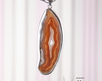 Large white and brown large druzy agate slice pendant in heavy sterling silver, brown banded agate stone pendant