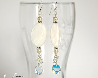 Long modern dangle sterling silver earrings with white mother of pearl and Swarovski Aurora Borealis crystals, disc and butterfly shaped