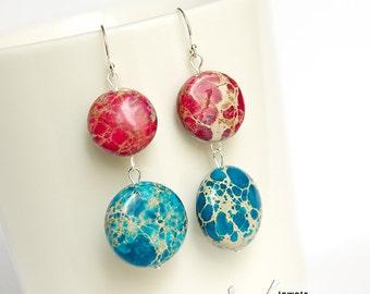 Earrings with beautiful blue and dark pink imperial jasper gemstones, round jasper, sterling silver modern ear rings