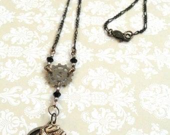 Steampunk Necklace, Gothic Jewelry, Gear Necklace, Snake Jewelry, Gear Rosary, Steampunk Jewelry, Gothic Necklace, Upcycled Jewelry, Snake