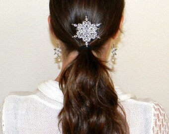 Swarovski Crystal Snowflake Glittering Frozen Winter Hair Comb