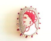 Hand embroided, cameo, brooch, pendand necklace, lady profile cameo