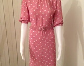 Vintage Dabney Paris/ New York pink and white knee length dress