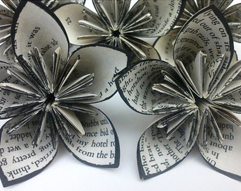 Medium Sized Black Trim OR Your Color Choice Vintage Book Paper Flowers Kusudama