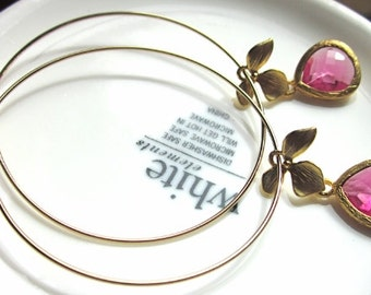 Bright Pink and Gold Hoop Earrings, Bridesmaid Earrings, Gift, Wedding, Boho-chic
