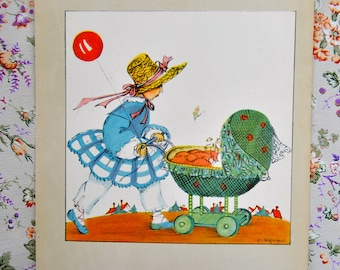 From a sweet book from 1942, a Charming picture by a Swedish illustrator. Darling framed.