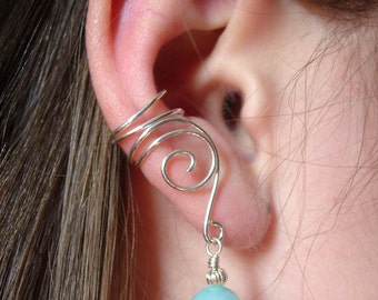 SILVER EAR CUFFS Pair of Solid Sterling Silver Ear Cuffs with Genuine Amazonite
