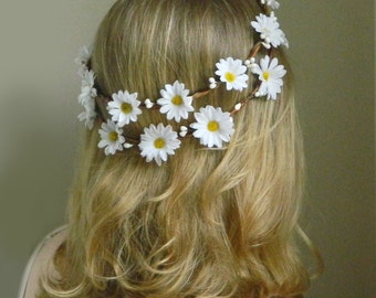 Daisy Blossom Double Flower Crown - White Woodland Bridal - Rustic Weddings