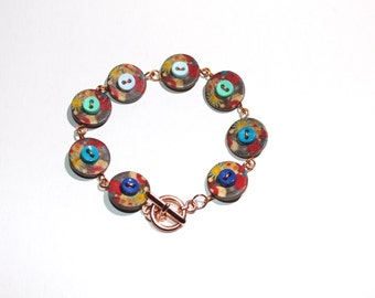 Wire and button bracelet in brown, bright copper wire wrapped, button jewelry
