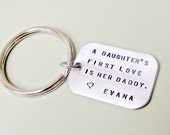 Daughter's First Love Hand Stamped Stainless Steel Tag with Key Ring - Father's Day Men's Gift Idea - Custom Gift for Him, Daddy