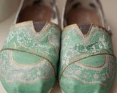 Mint and Gold Lace Custom TOMS Shoes