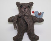 PATTERN PDF for My Message Bear, from wool or fleece, new or upcycled fabrics
