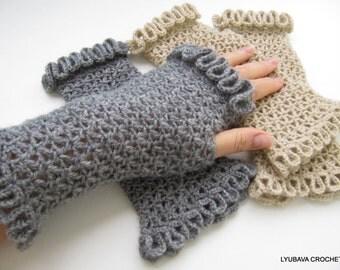 Fingerless Gloves Crochet PATTERN-Women's Gloves-Lace Gloves DIY Gift-Wrist Warmers-Instant Download PDF Pattern No. 77 by Lyubava Crochet