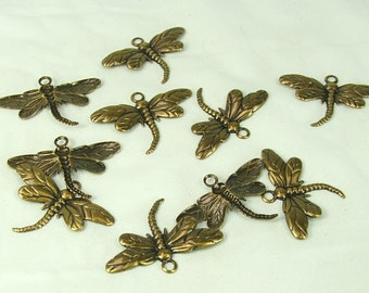 Dragonfly Charm Antiqued Gold Plated Brass 26x15mm (10) charms Insect pendant craft supply