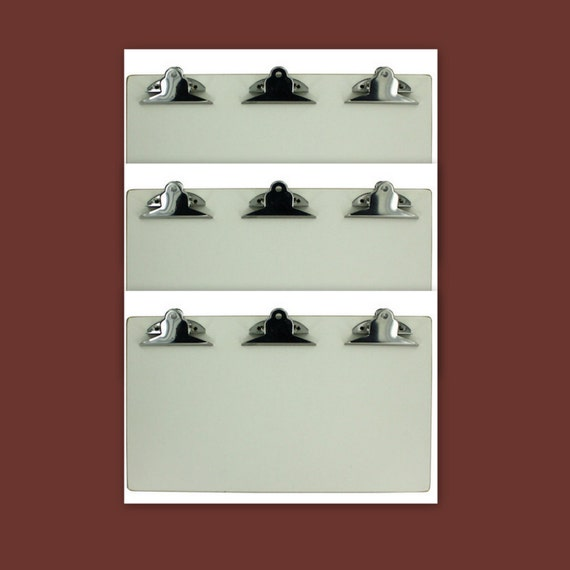 SALE - 3 White Clipboards Triple Clip 13 x 7.5 in